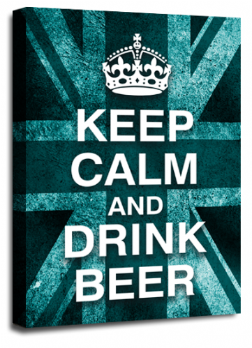 Keep Calm Drink Beer Wall Art Teal White British Flag